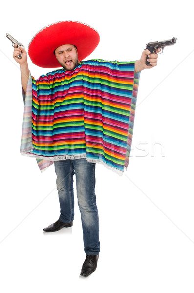 Funny mexican holding pistol isolated on white Stock photo © Elnur