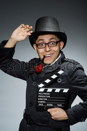 Funny safari hunter charakter okulary film Zdjęcia stock © Elnur