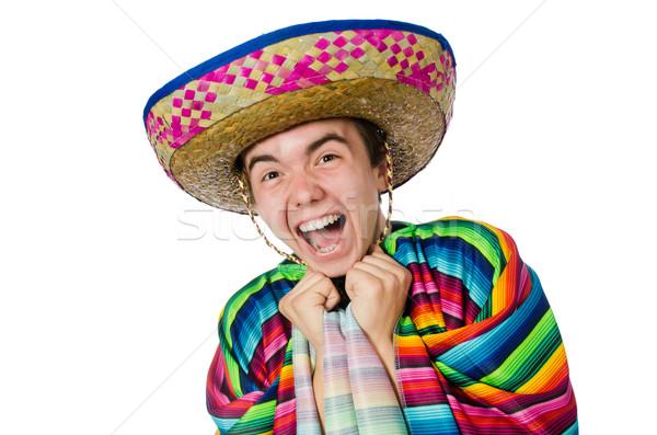 смешные молодые мексиканских ложный усы изолированный Сток-фото © Elnur