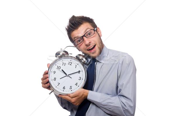 Hombre reloj cumplir fecha tope aislado hombre blanco Foto stock © Elnur