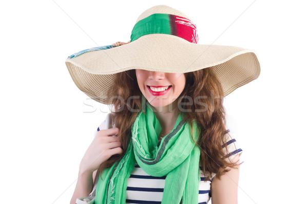 ストックフォト: 女性 · 帽子 · 孤立した · 白 · 顔 · 目