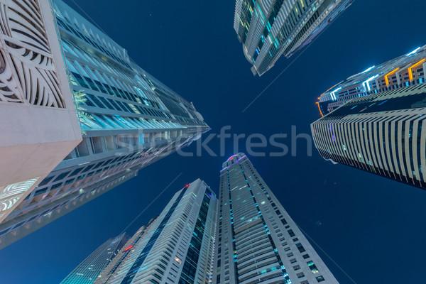 Stock fotó: Felhőkarcolók · Dubai · éjszaka · épület · város · építkezés