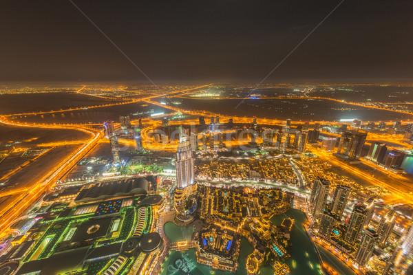 Panorama of night Dubai during sunset Stock photo © Elnur