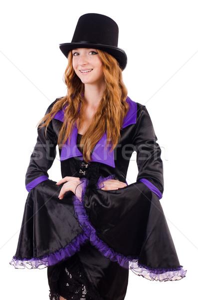 Bella ragazza viola carnevale abbigliamento Hat Foto d'archivio © Elnur