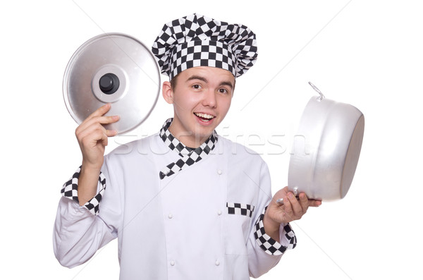 Young chef holding pan isolated on white Stock photo © Elnur