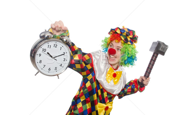 Clown with clock and hammer isolated on white Stock photo © Elnur