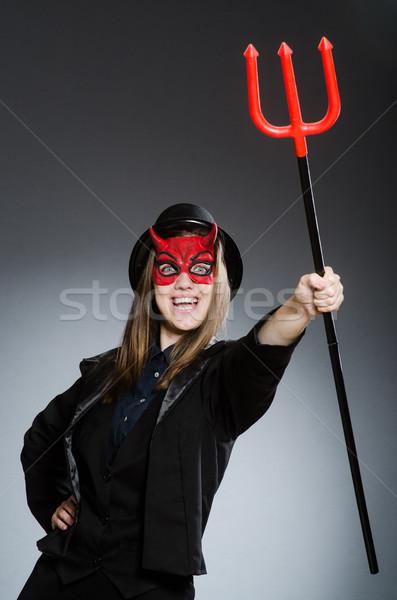 смешные дьявол Хэллоуин красный вилка мертвых Сток-фото © Elnur