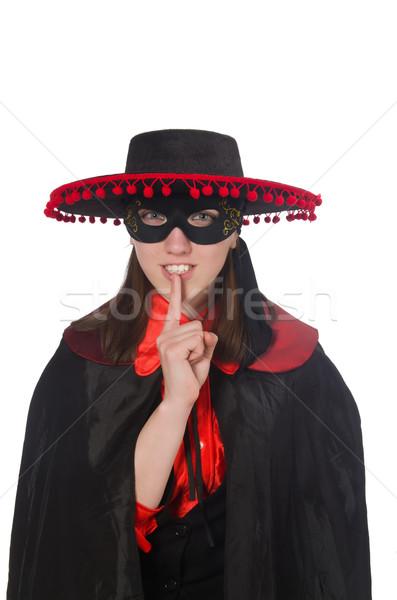 Stockfoto: Meisje · zwarte · Rood · carnaval · pak · geïsoleerd