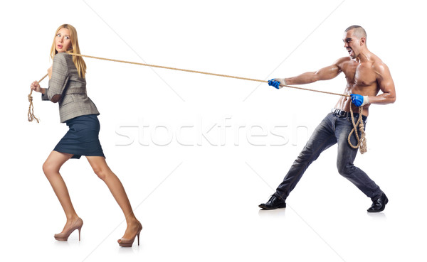 Businesswoman in tug of war concept Stock photo © Elnur