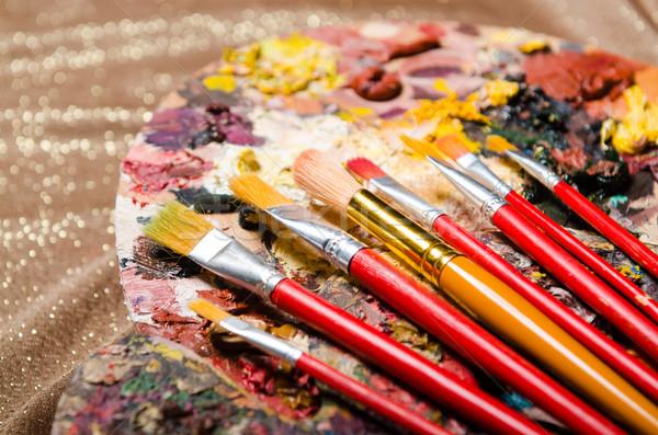 Sanat paletine okul boya arka plan eğitim Stok fotoğraf © Elnur