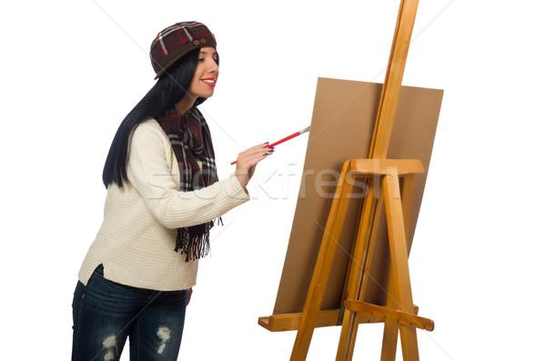 женщину художник изолированный белый кадр искусства Сток-фото © Elnur
