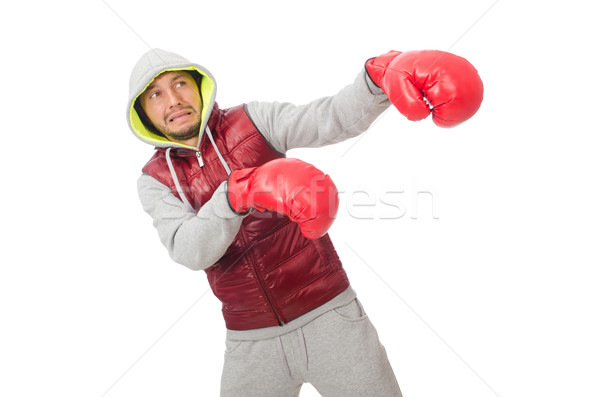 Man wearing boxing gloves isolated on white Stock photo © Elnur