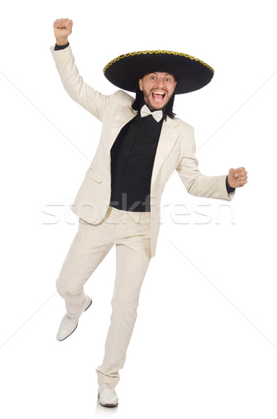 Funny mexican in suit and sombrero isolated on white Stock photo © Elnur