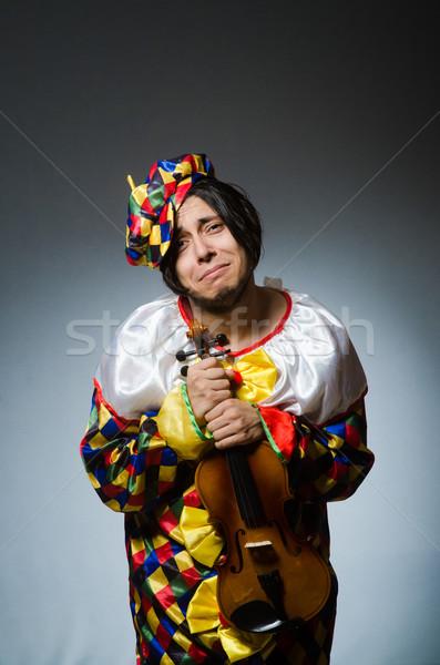 Vicces hegedű bohóc játékos musical zene Stock fotó © Elnur