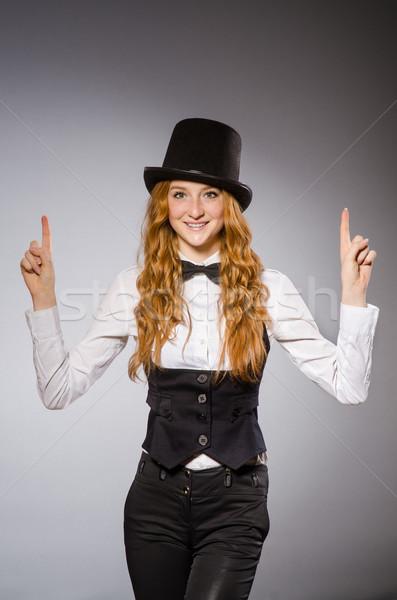 Güzel kız Retro şapka yalıtılmış Stok fotoğraf © Elnur