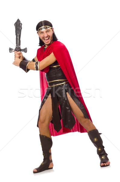 Gladiador espada aislado blanco hombre Foto stock © Elnur