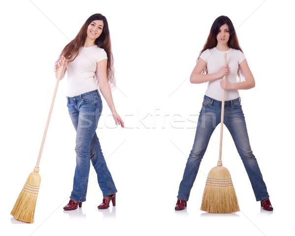 Stok fotoğraf: Kadın · süpürge · yalıtılmış · beyaz · mutlu · çalışmak