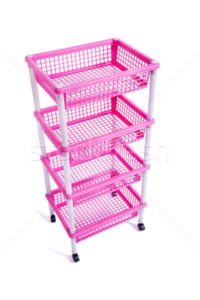 Rosa Rack Regal Räder isoliert Stock foto © Elnur
