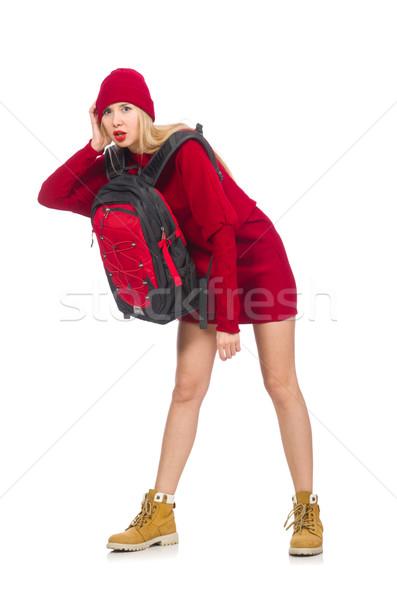 Stockfoto: Mooie · meisje · rode · jurk · rugzak · geïsoleerd · witte