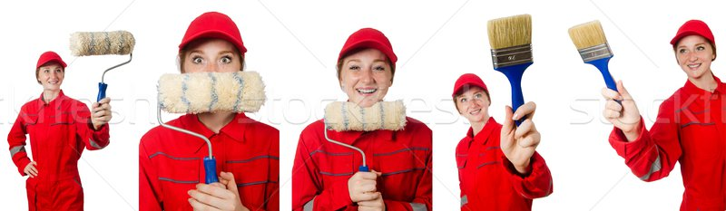 Woman painter isolated on white Stock photo © Elnur