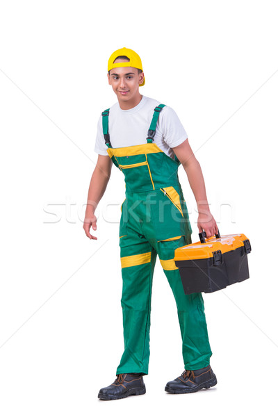 Young man with toolkit toolbox isolated on white Stock photo © Elnur