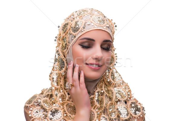 Muslim donna oro coprire isolato bianco Foto d'archivio © Elnur