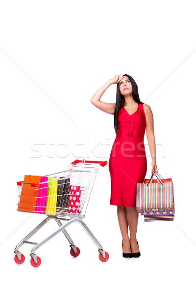 Kadın kırmızı elbise alışveriş yalıtılmış beyaz arka plan Stok fotoğraf © Elnur