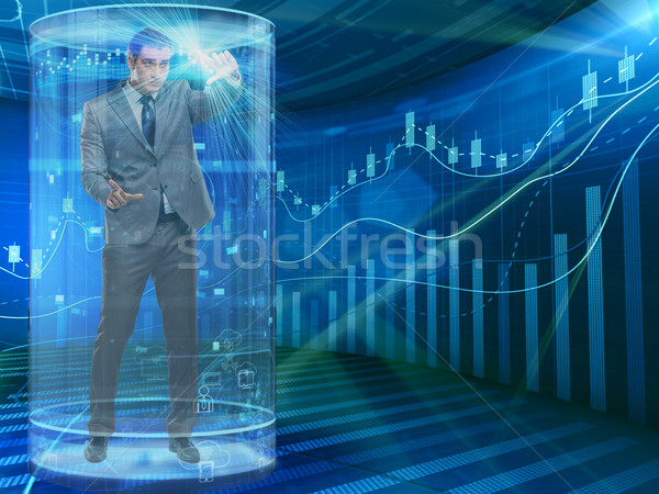 Man in stock exchange trading concept Stock photo © Elnur