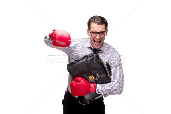Agressivo empresário luvas de boxe isolado branco negócio Foto stock © Elnur