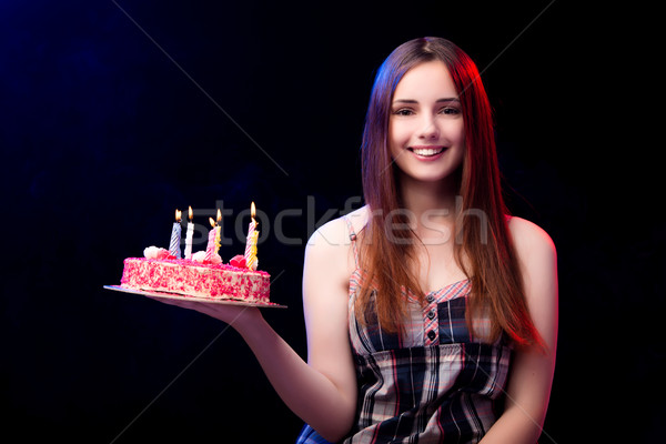 The young woman with birthday cake at party Stock photo © Elnur