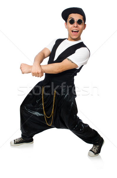 Stock photo: Funny young man dancing isolated on white