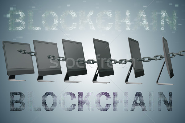Concept of blockchain in modern business - 3d rendering Stock photo © Elnur
