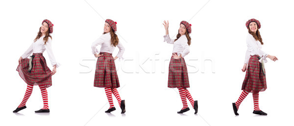 Pretty girl in plaid red clothing isolated on white Stock photo © Elnur