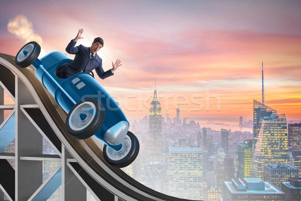 üzletember vezetés sportautó hullámvasút sport háttér Stock fotó © Elnur