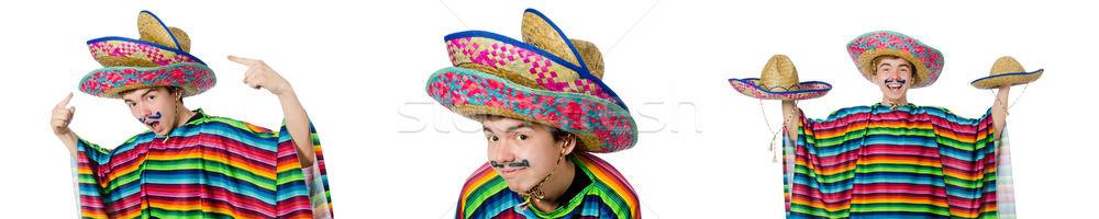 Komik genç Meksika yanlış bıyık yalıtılmış Stok fotoğraf © Elnur