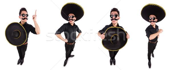 Komik adam Meksika geniş kenarlı şapka şapka Stok fotoğraf © Elnur