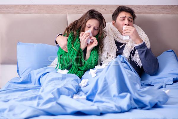 Enfermos esposa marido cama casa salud Foto stock © Elnur