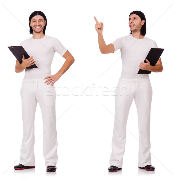 A man in white sportswear isolated on white Stock photo © Elnur