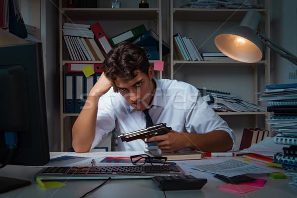 Hombre empresario de trabajo tarde oficina trabajo Foto stock © Elnur