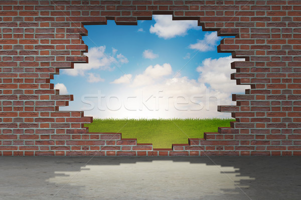 The vacation concept with brick wall Stock photo © Elnur