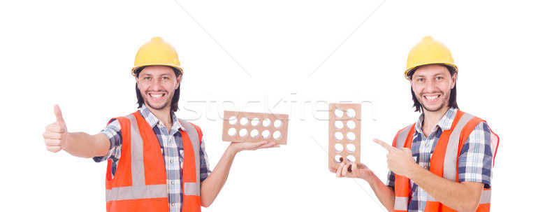 The young bricklayer with brick isolated on white Stock photo © Elnur