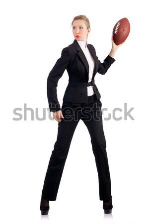Woman businesswoman with american football Stock photo © Elnur