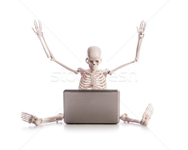 Stock fotó: Csontváz · dolgozik · laptop · technológia · billentyűzet · üzletember