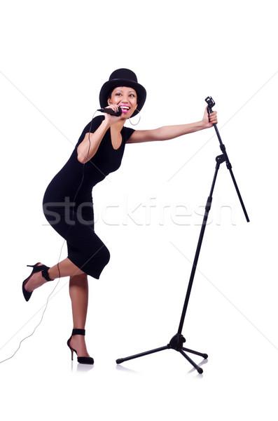 женщины певицы изолированный белый вечеринка фон Сток-фото © Elnur
