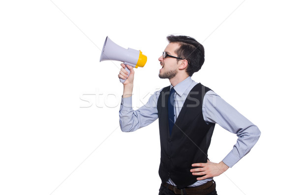 Young businessman with loudspeaker on white Stock photo © Elnur