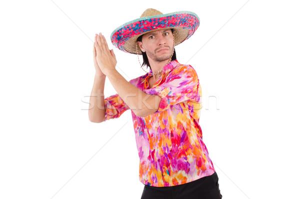 Komik Meksika geniş kenarlı şapka şapka parti adam Stok fotoğraf © Elnur