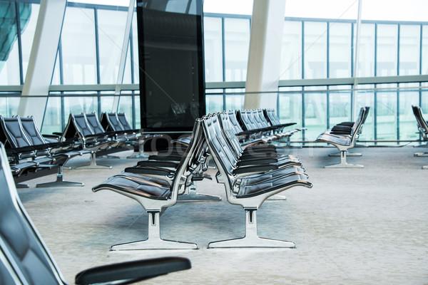 Stockfoto: Stoelen · luchthaven · salon · glas · metaal · venster