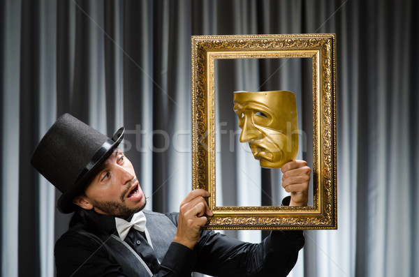 Vicces színpadi maszk háttér üzletember szomorú Stock fotó © Elnur