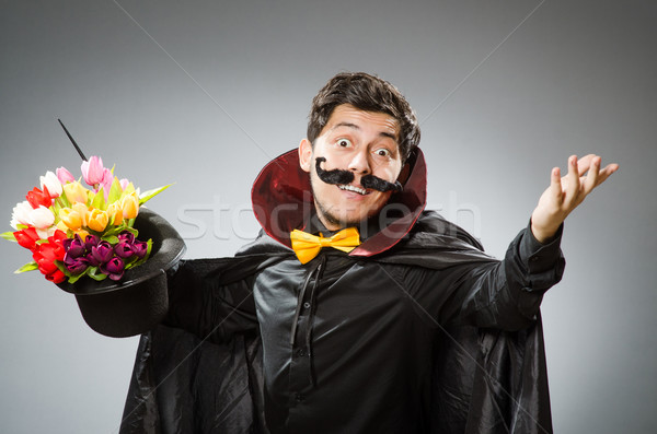 Funny magician man with wand and hat Stock photo © Elnur