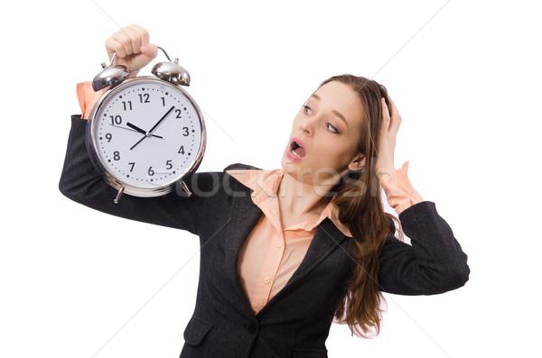 Stockfoto: Business · dame · wekker · geïsoleerd · witte